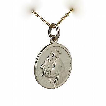 9ct золота 18 мм вокруг Святого Антония Падуанского Кулон с кабелем цепи 16 дюймов подходит только для детей