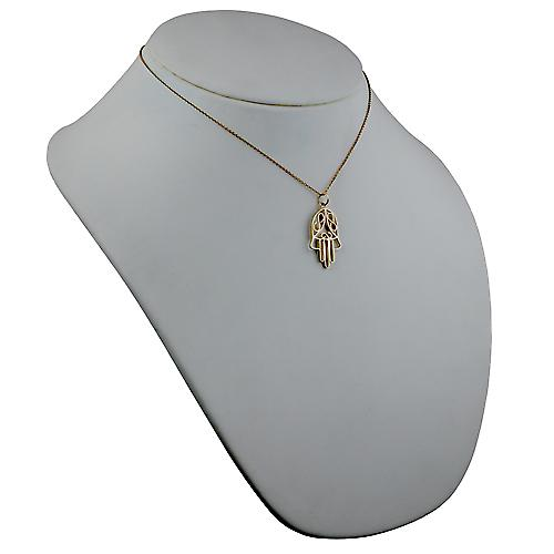 9ct Gold 29x18mm Hand of Fatima Pendant with a cable Chain 16 inches Only Suitable for Children