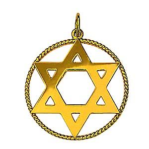 9ct Gold 26mm plain Star of David in a twisted wire circle Pendant