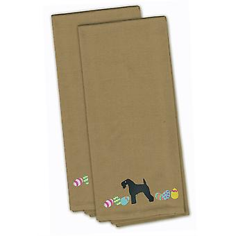 Kerry Blue Terrier Easter Tan Embroidered Kitchen Towel Set of 2