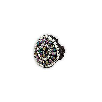 Einstellbare Perlen Silber und Kristall ring