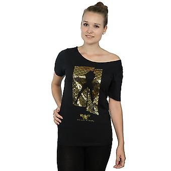 DC Comics Women's Wonder Woman Pose Silhouette Destroyed Boat Neck T-Shirt