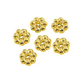 Packet 100+ Gold Tibetan 5mm Flower Spacer Beads HA15580