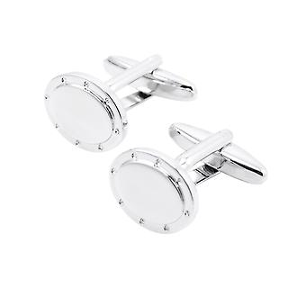 Oval Silver Cufflinks Shirt Sleeve White Stud Screw Button Cuff Link