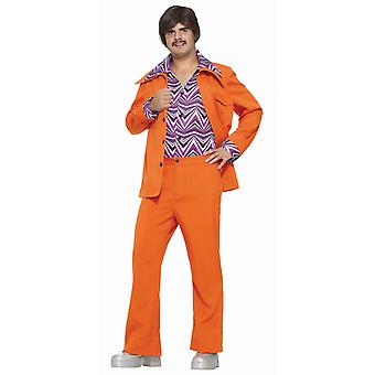 Leisure Suit 70s 60s Orange Disco män kostym STD
