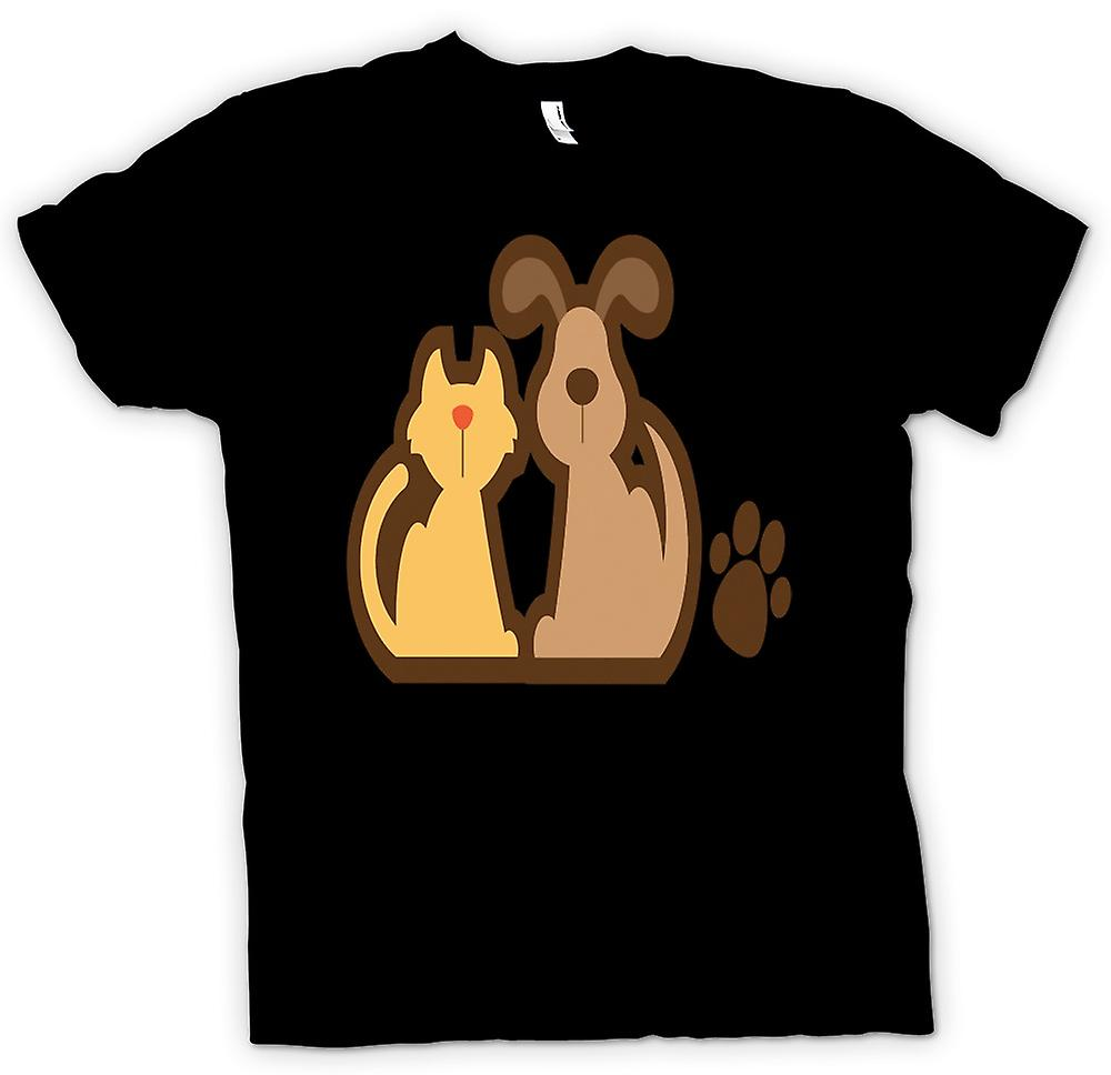 Mens T-shirt - Happy Dog and Cat - Funny