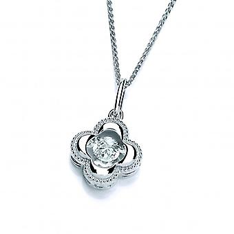 Cavendish French Silver and Dancing CZ Four Leaf Clover Pendant without Chain