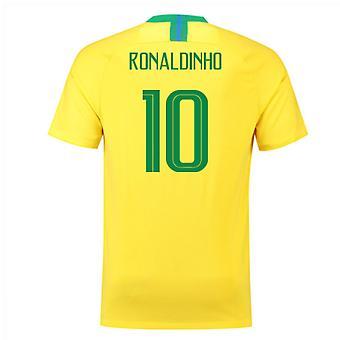 2018-2019 Brazil Home Nike Football Shirt (Ronaldinho 10)