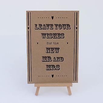 Guest Book Sign Kraft Brown Hearts 'Leave Your Wishes' Sign And Easel Rustic Wedding