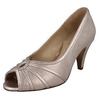 Damer elegante Van Dal Peep Toe sko Hart - kviksølv metallisk læder - UK størrelse 7EE - EU størrelse 41 - US størrelse 9