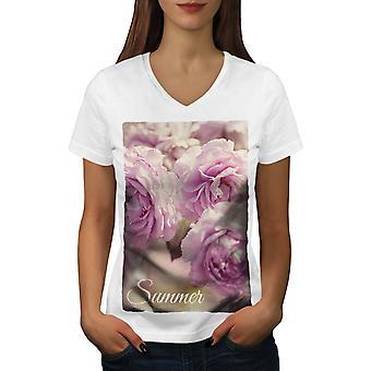 Summer Rose Flower Women WhiteV-Neck T-shirt   Wellcoda