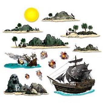 Nave di pirata e puntelli di isola (14 in un pacchetto)