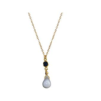 GEMSHINE Sapphire and blue agate necklace. Gemstone drops high-quality gold plated pendant on 45cm chain. Made in Munich, Germany. Delivered in the fine jewelry. Also as SET with earrings