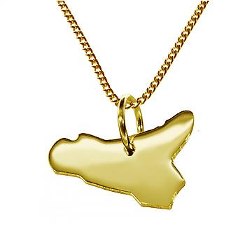 Trailer map SICILY pendant in solid 585 gold