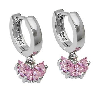 Sølv hoop øredobber Kreolske rosa kubikk zirconia Butterfly klaff hengsel 925 sølv