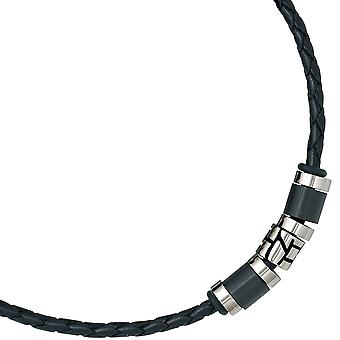 Leather necklace with stainless steel chain partially frosted partially blacked out