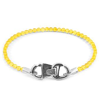 Yellow Amber CUSTOM Bracelet Stone and Silver Line
