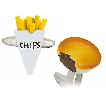 Zennor Pie en Chips Manchetknopen - zilver/geel