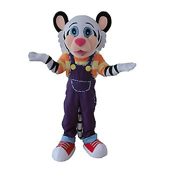 mascot Tiger white and black, with a colorful outfit SPOTSOUND