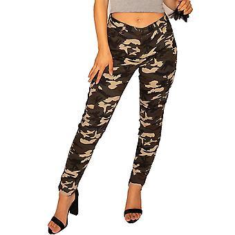 Dunkle Camouflage Slim Cargo-Hosen