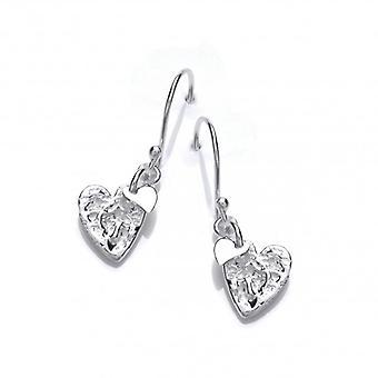 Cavendish franske sammenkrøllet sølv hjerte øreringe