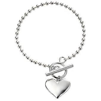 Begin hart on Ball Chain Bracelet - zilver