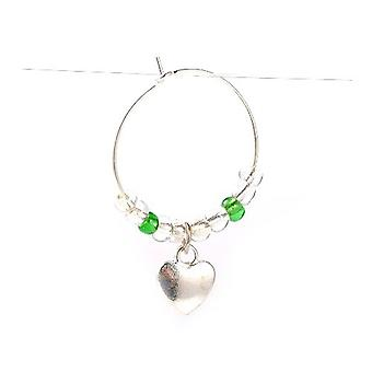 1 x antik sølv/grøn messing hjerte & glas vin glas charme Ring 39mm Y06625