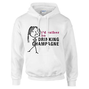 Señoras prefiero estar bebiendo champán con capucha blanco con capucha