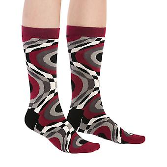 Hipno luxury combed cotton designer crew sock in crimson | By Ballonet