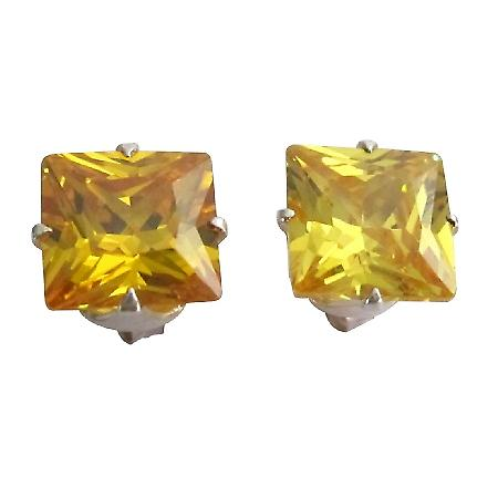 Classic Cool Citrine Leamon Color Prince Cut Stud 10mm Earrings