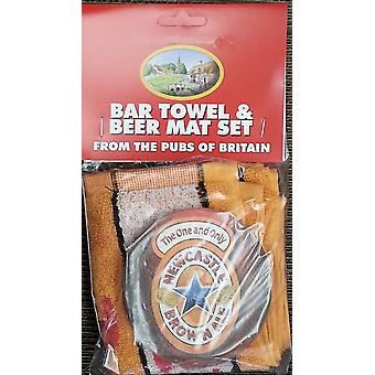 Newcaste Brown Ale Baumwolle Bar Handtuch und 10 Bierdeckel (pp)