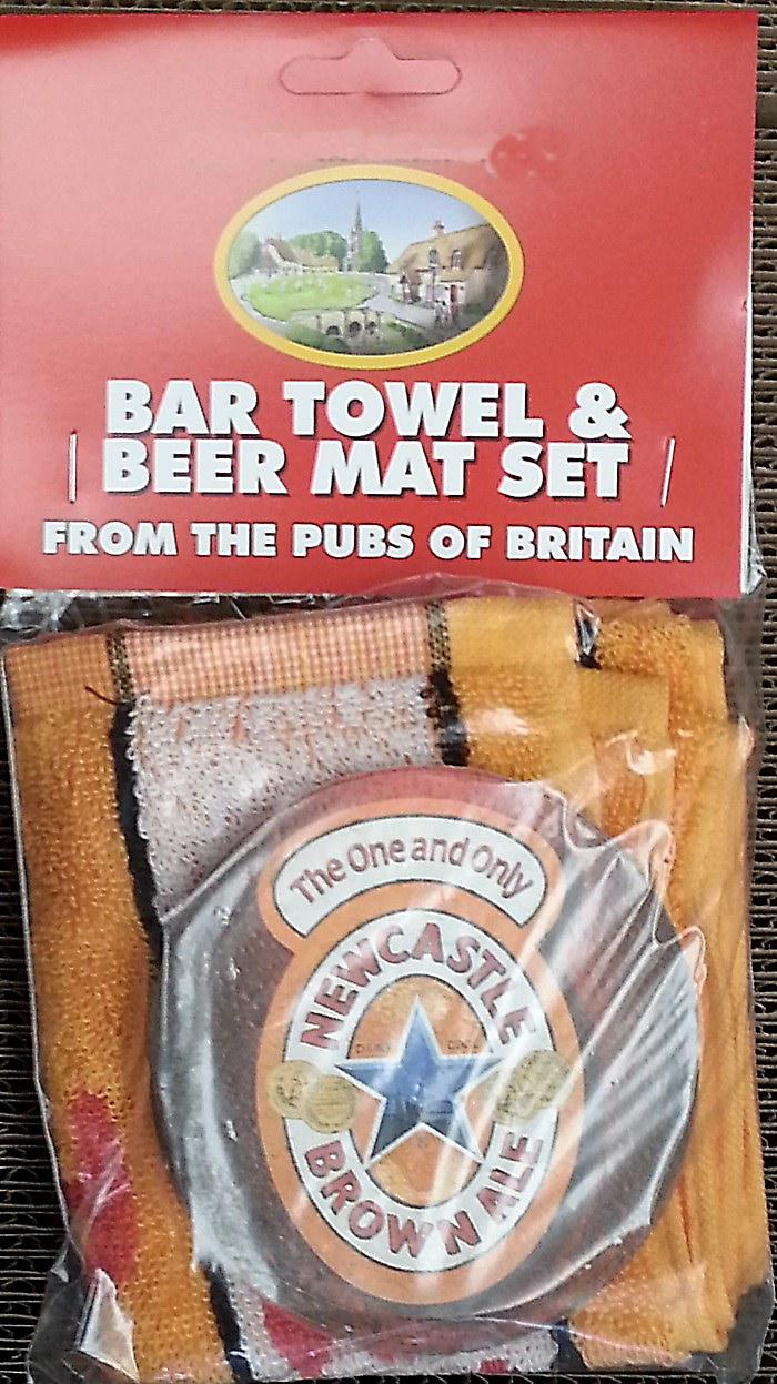 Newcaste Brown Ale Cotton Bar Towel and 10 Beermats (pp)