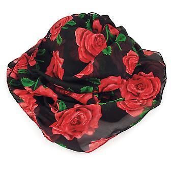 Wieczne kolekcji angielski Red Rose i kolorze czarnym w Multi Pure jedwabny szal