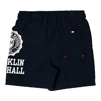 Junior Boys Franklin And Marshall Core Logo Swim Short In Navy- Ribbed