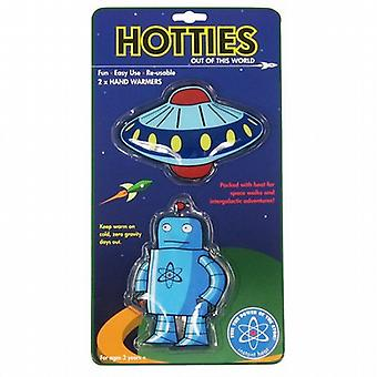 Robot & UFO Reusable Gel Hand Warmers (Pair)