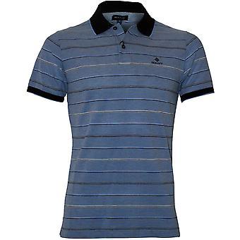 Gant Oxford Stripe Pique Rugger Polo Shirt, Palace Blue