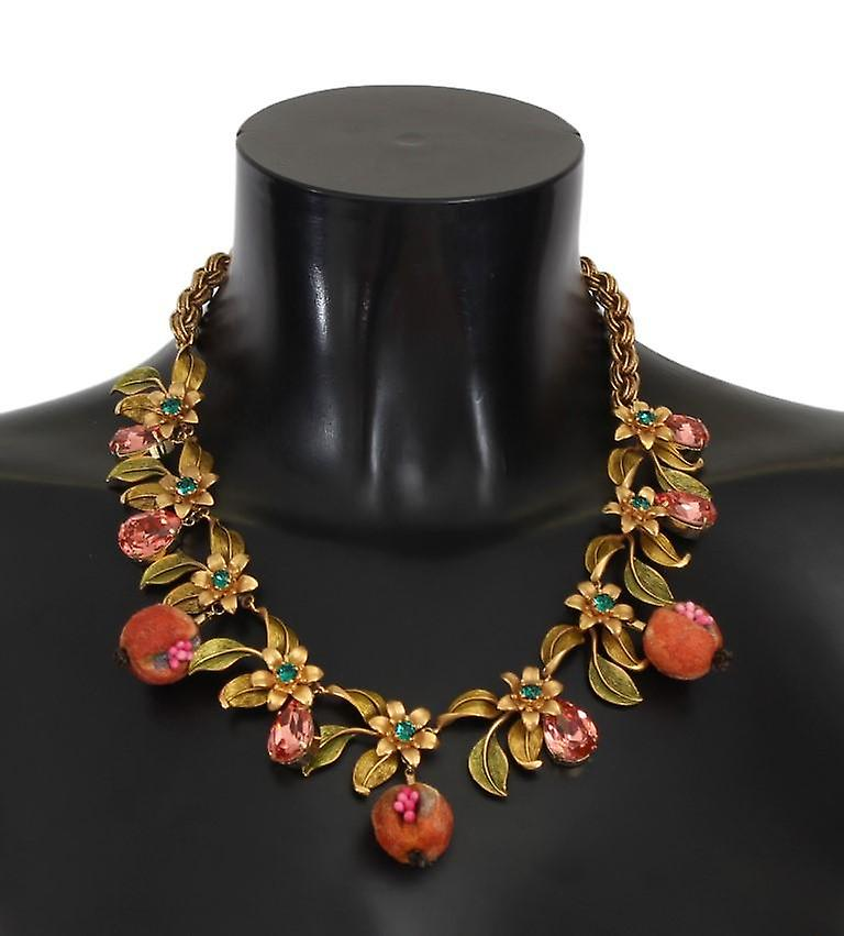 Or figs fruit floral crystal charms collier