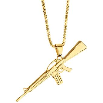Iced out stainless steel pendant necklace - weapon gold