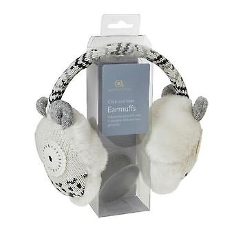 Cozy Ears Click & Heat Knitted Animal Ear Muffs: Snow Owl