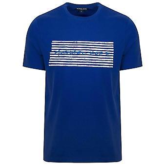 Michael Kors Michael Kors Royal Blue markør trykt logo T-skjorte