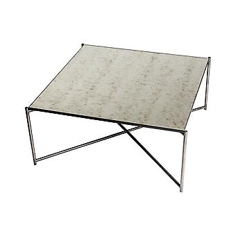 Gillmore Space Antiqued Glass Square Coffee Table With Gun Metal Cross Base