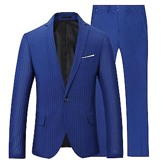 Alle Themen Herren blau gestreift 2-Pieces One Button Classic Casual&Formal Wild Suits Blazer&Trousers