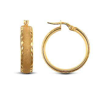 Jewelco London Ladies 9ct Yellow Gold Frosted Diamond Cut Wedding Band 6mm Hoop Earrings 24mm
