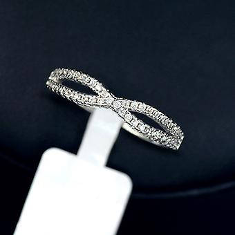 18K White Gold Plated Cubic Zirconia Infinity Ring