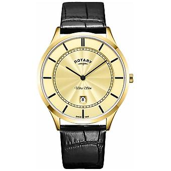 Rotary Mens Ultra Slim Gold Black Leather Strap GS08413/03 Watch