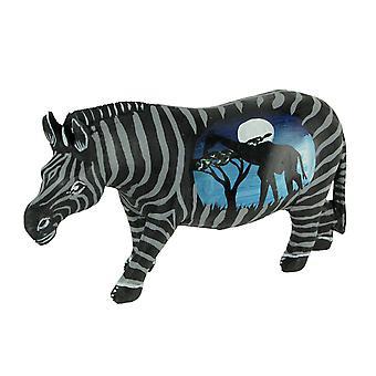 Black and White Handcrafted Wood Zebra Statue with Blue Night Safari Scene