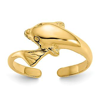 14k Yellow Gold Polished Dolphin Toe Ring - 1.2 Grams