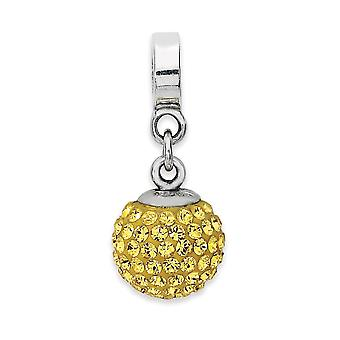 925 Sterling Silver Polished Reflections Nov Crystal Ball Dangle Bead Charm