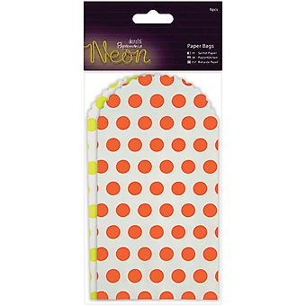 Papermania Neon/White Paper Bags 6/Pkg-Yellow & Orange PM174214