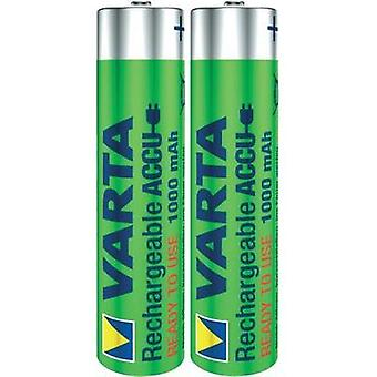 AAA battery (rechargeable) NiMH Varta Ready2Use HR03 1000 mAh 1.2 V 2 pc(s)